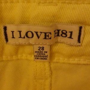Shorts - NWT I LOVE H81 CANARY YELLOW WOMEN'S 28 CUTOFFS